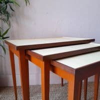 Nest of Vintage Tables with Yellow Tops